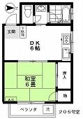 ハウス小林No.6 205(入居中)の間取り図