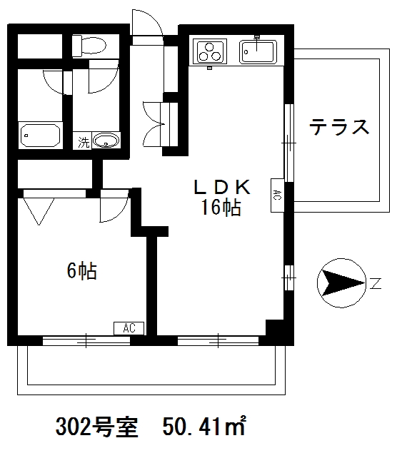サウルスマンション3F(入居中)の間取り図