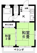 コバヤシコーポ2F(入居中)の間取り図